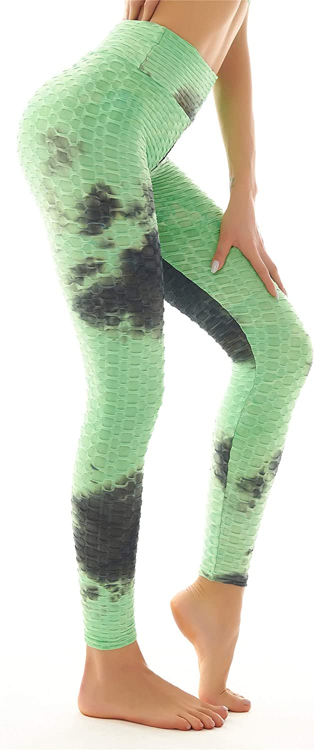Bubble Scrunch Butt Lifting Push Up Leggings or Bra for Women Tie-Dye Ruched Textured Workout Booty Yoga Pant Tops