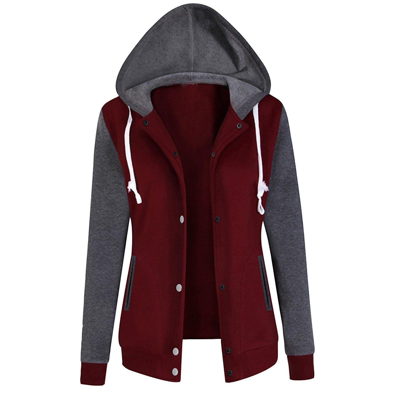 LAEMILIA Women Long Sleeve Varsity Baseball Hoodie Jacket Outerwear Bomber Coat Drawstring Plain Top Sweatshirts Coats