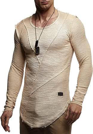 LEIF NELSON Men's Oversized Long Sleeve T-shirt Sweatshirt LN6323