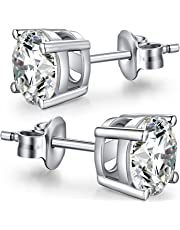 Han han 925 Sterling Silver Round Cut Cubic Zirconia CZ Stud Earrings,Select From 4mm 5mm 6mm 7mm 8mm