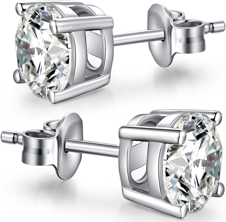 Han han Brilliant Round Cut Cubic Zirconia Stud Earrings for Women/Men Fake Diamond Stud Earrings Fashion Pierced Earrings Nickel-Free Hypoallergenic Earrings Unisex Stud Earrings 4MM 5MM 6MM 7MM 8MM