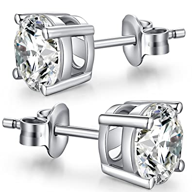 6a611cd2e 925 Sterling Silver 4mm Round CZ Stud Earrings,Unique Fashion Cubic  Zirconia Earrings Stud,