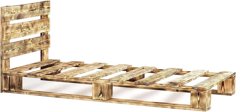 Dydaya Cama de Palets & Pallets de 135 x 190 para colchones de 135x190 & Somier & Somieres Juveniles Originales Moderno (Flameado, 135 x 190 x 15)