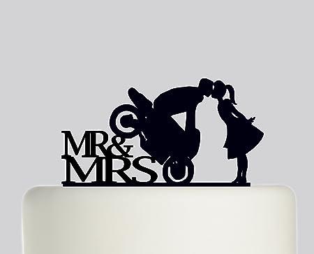 Mr Mrs Bride And Groom Motorbike Wedding Cake Topper Acrylic Cake Topper Black Acrylic Amazon Co Uk Kitchen Home