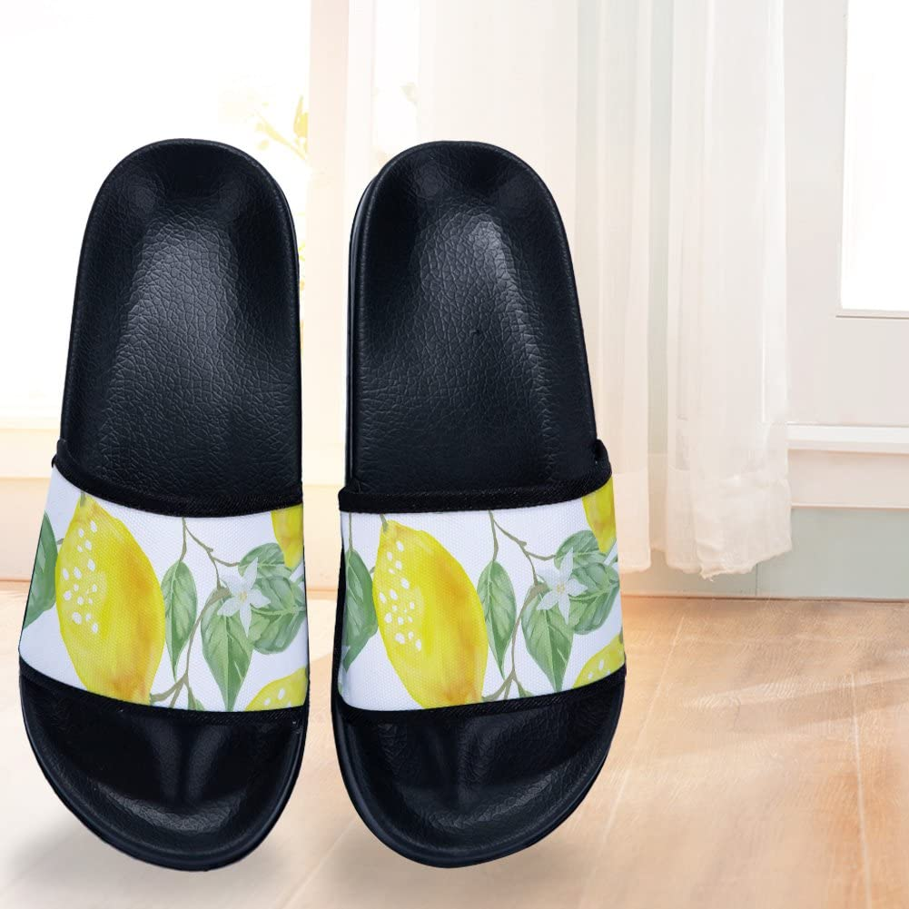 Buteri Lemon Summer Slippers Watercolor Lemon Non-Slip Quick-Drying Slippers for Womens