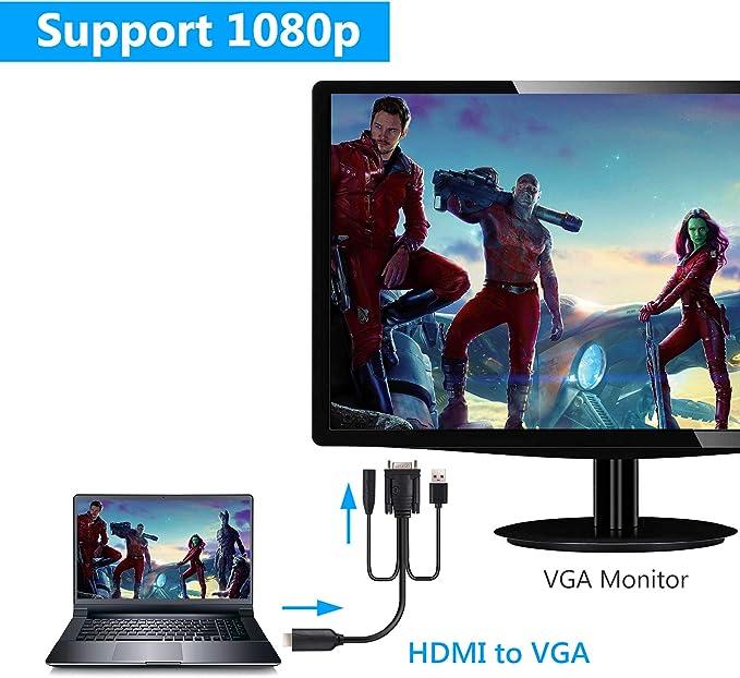 eSynic HDMI a VGA Adaptador Cable 1080P con Audio de 3,5 mm Alimentación USB Cable de Convertidor de Video de 6 Pies (Macho a Macho) 1080P Soporte PS4 PC portátil a Monitor