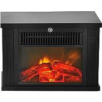 HOMCOM Chimenea Eléctrica Portátil Mini Estufa Calefactor Termostato Ajustable 600…