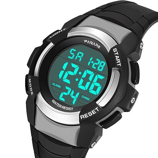 Reloj digital deportivo para hombre con pantalla LED de gran tamaño, relojes militares impermeables, regalo clásico.: Amazon.es: Relojes