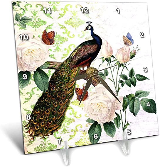 3dRose dc_110314_1 Peacock with White Roses Vintage Art-Desk Clock, 6 by 6-Inch