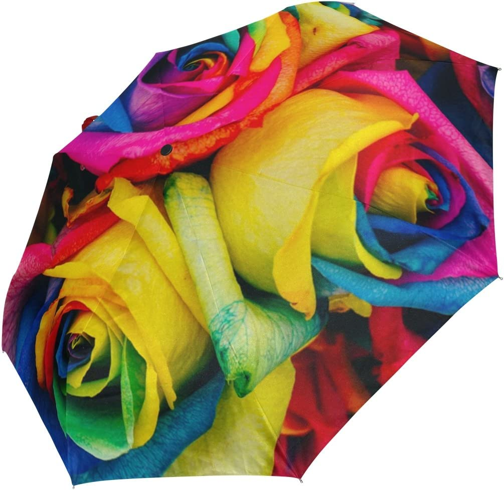 DOENR Compact Travel Umbrella Colorful Rose Sun and Rain Auto Open Close Umbrellas Portable Outdoor Folding Umbrella