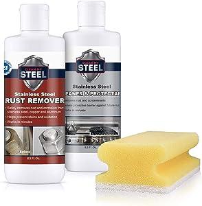 Clean My Steel Stainless Steel Cleaner, Rust Remover & Protector Kits w/Sponge
