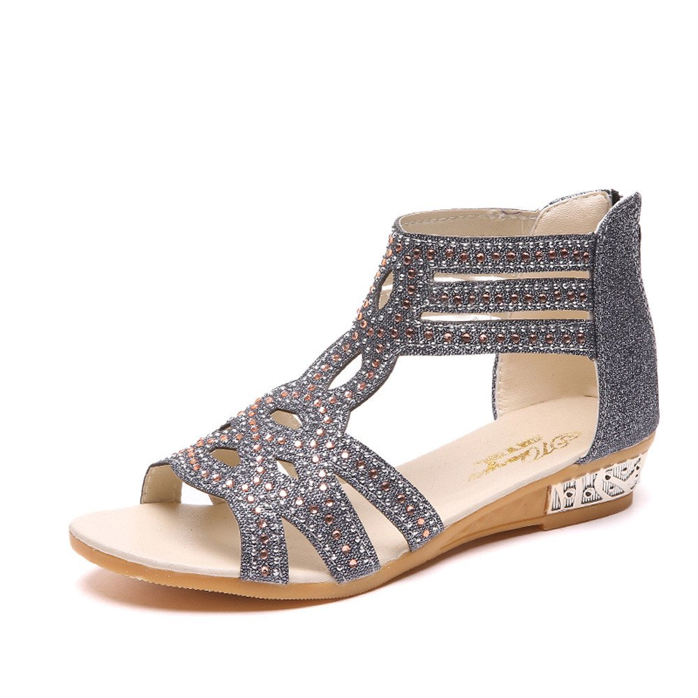 Women Crystal Sandals, lkoezi Lady Fashion Platform Wedges Fish Mouth Hollow Out Rhinestone Sandals Summer Roman Shoes