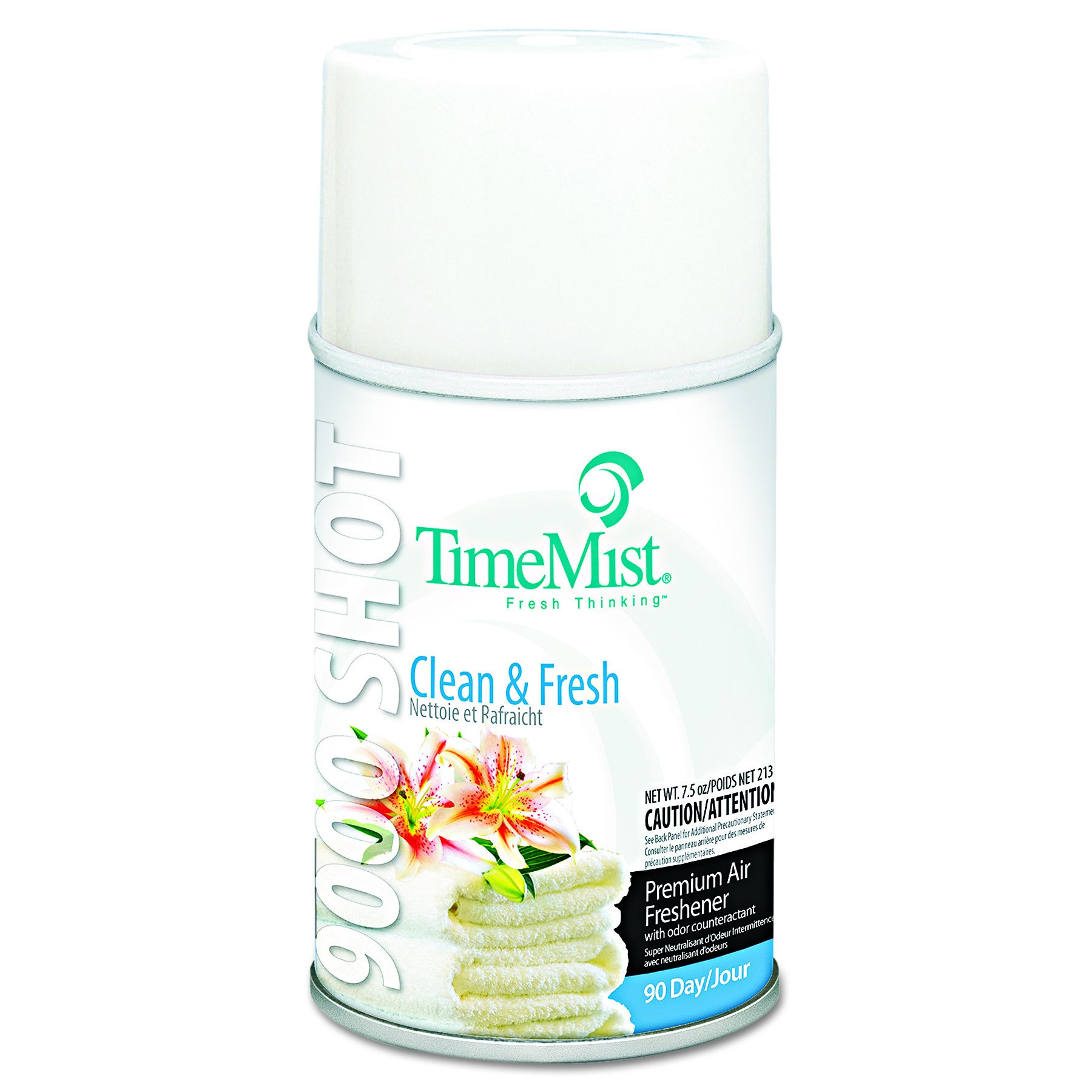 TimeMist 1042637 9000 Shot Metered Air Fresheners, Clean N' Fresh, 7.5 oz Aerosol (Case of 4)