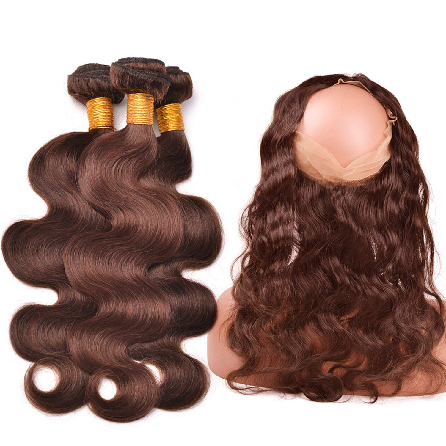 #4 Light Brown 3 Bundles With Closure 360 Frontal Pre Plucked With Baby Hair Peruvian Body Wave 100% Human Hair Romantico Non Remy,20 22 22 & Closure18,#4,Three Part 71VmwkF6LIL