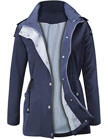 b378d252808 FISOUL Raincoats Waterproof Lightweight Rain Jacket Active Outdoor Hooded  Women's Trench Coats