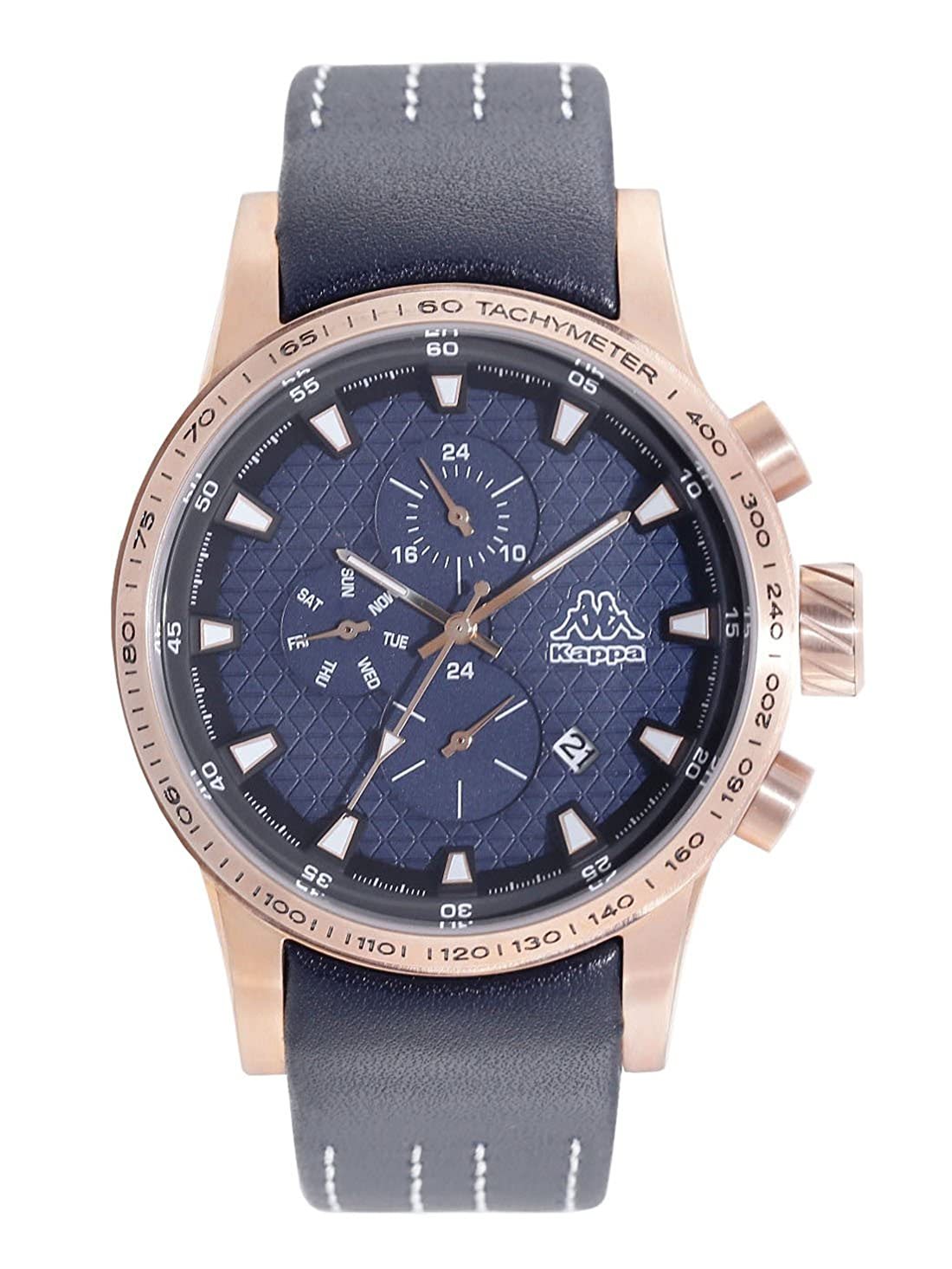 Kappa men's watch with a leather strap, date, weekday, GMT KP 1434M E