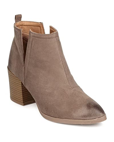 FE74 Women Faux Suede Pointy Toe Slit Chunky Heel Bootie - Taupe