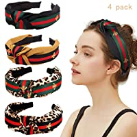 SYBF 4 Pack Stripe Headbands for Women- Green Red Green Stripe Hair Hoop-Wide Hard Headbands with Bee Animal-Cross Knot Hairbands with Cloth Wrapped Hair Accessories for Women Girls