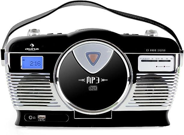 Auna Rcd 70 Retro Cd Radio Nostalgie Radio Schwarz Elektronik