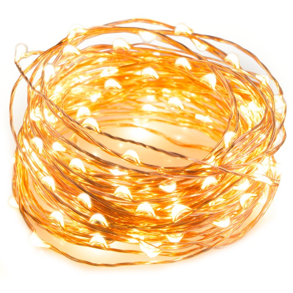 TaoTronics LED String Lights 33 ft with 100 LEDs, Waterproof Decorative Lights for Bedroom, Patio, Parties (Copper Wire Lights, Warm White) (Renewed)