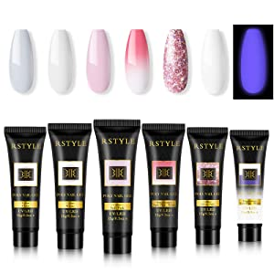 RSTYLE Poly Nail Builder Gel Kit, 6 Poly Gel Colors Nail Extension Gel Set with Gift Box for Nail Art Design DIY at Home Beginner Friendly