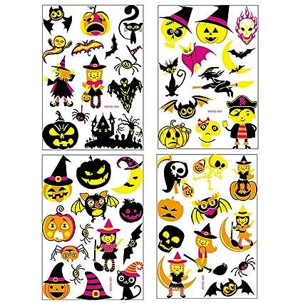 4 Piezas Halloween Tatuaje Creativo Etiqueta Decoración ...