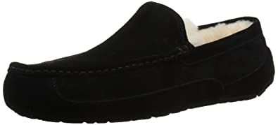 147f9c068 Amazon.com | UGG Men's Ascot Slipper, Black Suede, 12 M US | Slippers