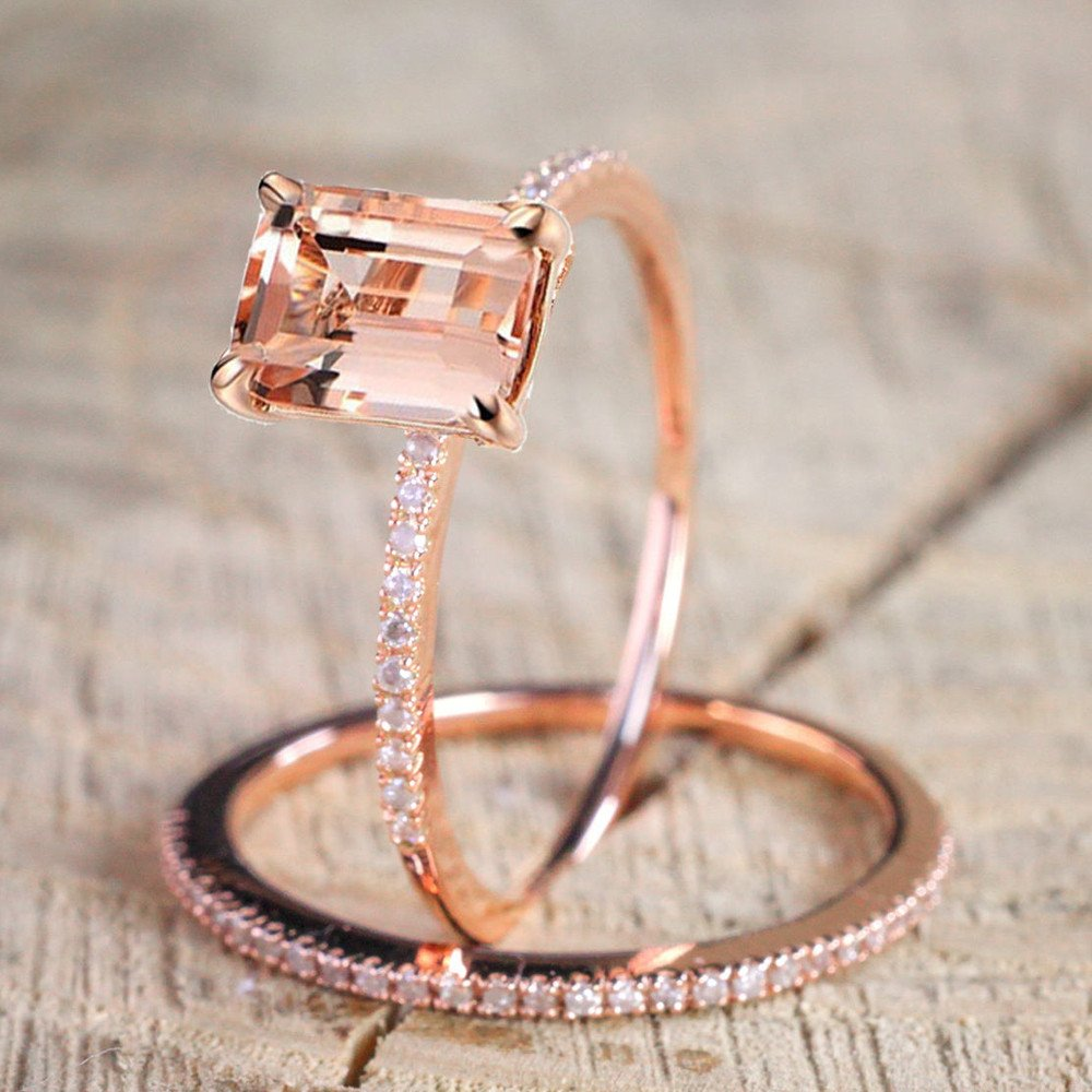 Beclgo Ring,Rose Gold Engagement Ring Exquisite Micro-Set Square Zircon Ring