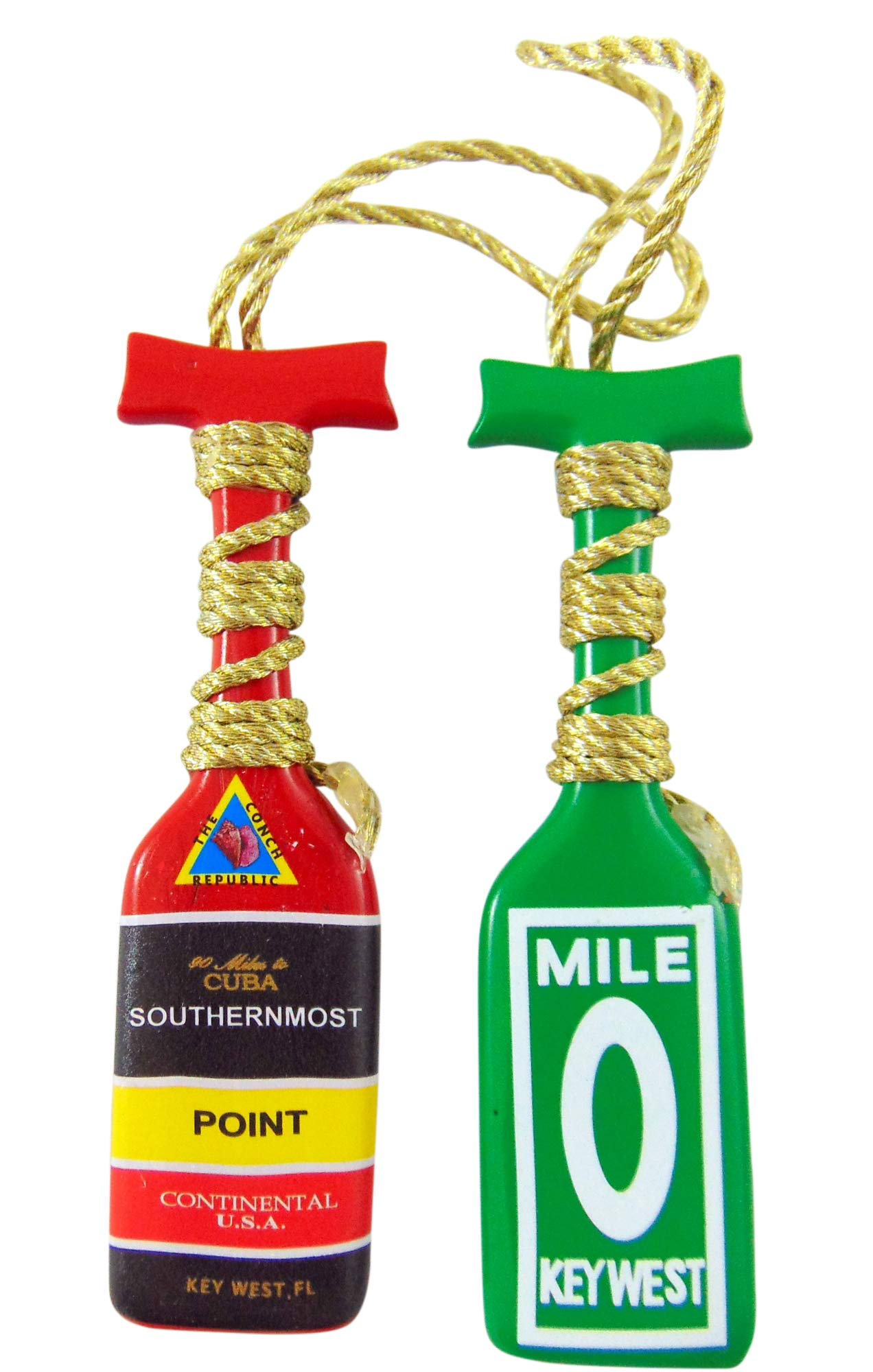 Key West Ornament Southernmost Point and Mile 0 Boat Oar Paddle Christmas Tree Decoration, Set of 2 by Westman Works