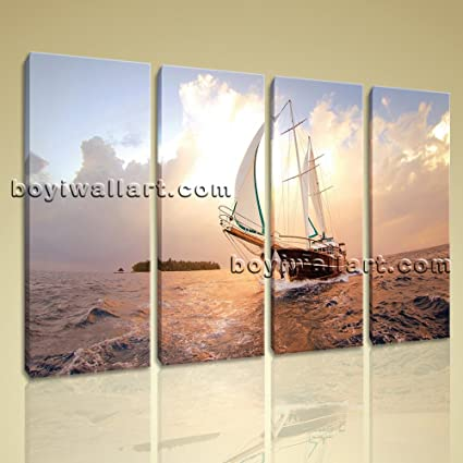 amazon com large canvas prints wall art 4 panels sailing boat