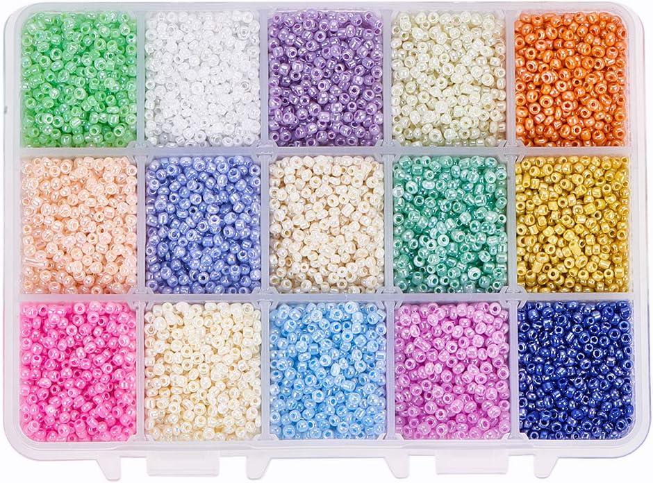 pandahall alrededor de 19500 piezas 12/0 Abalorios de la semilla de cristal cuenta redonda de pony mini cuentas espaciadoras con caja contenedor para la fabricaci¨®n de la joya,15 colores