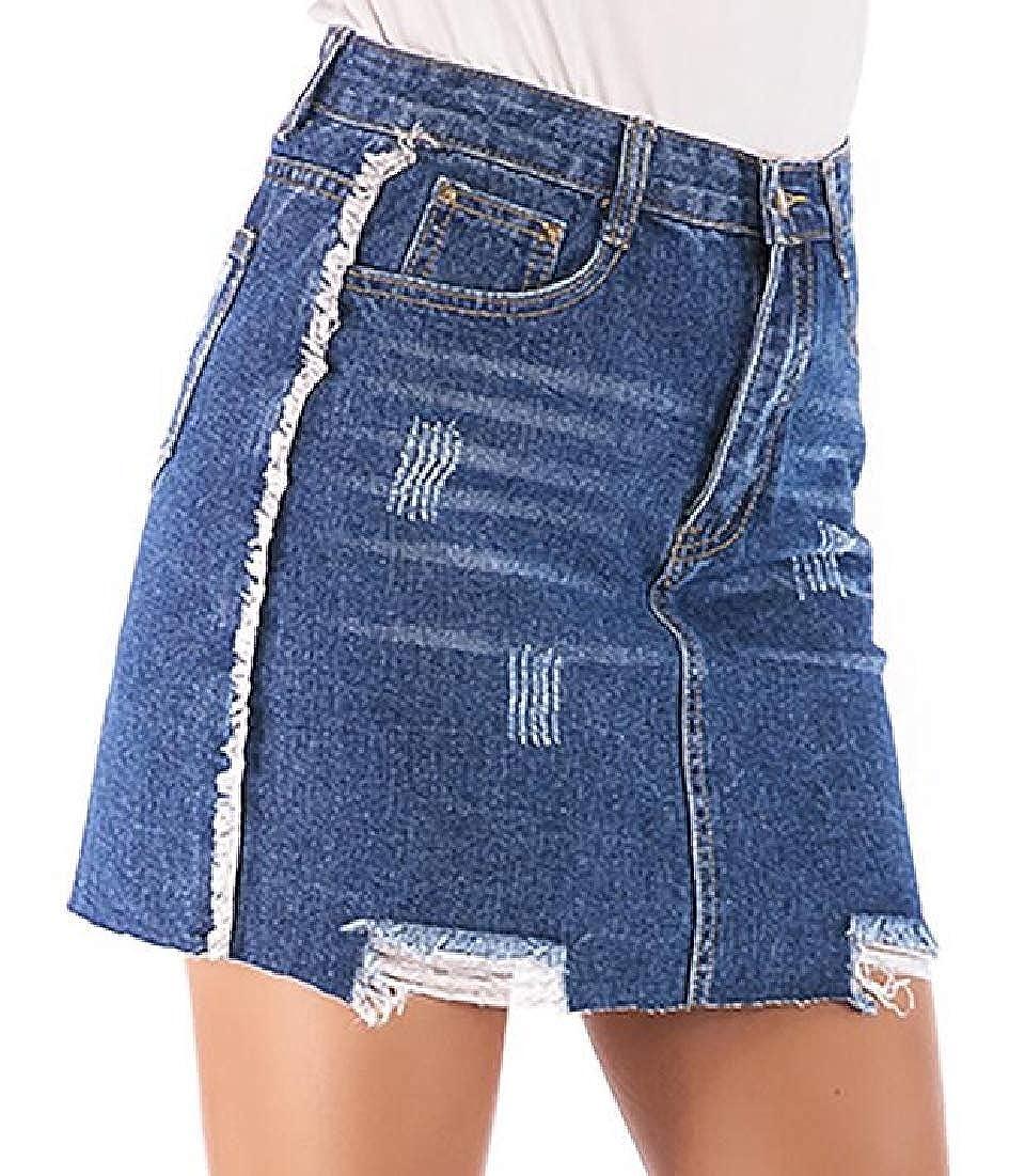 BYWX Women Bodycon High Waist A-Line Hole Basic Ripped Denim Mini Skirts