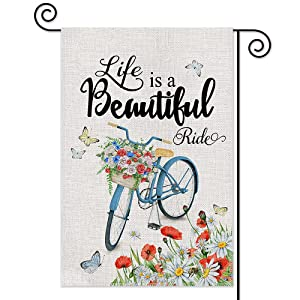 AGMdesign Life is a Beautiful Ride Garden Flag, Bicycle Ride Decorative Spring Summer Floral Garden Flag, Double Sided Waterproof Burlap Yard Flag Seasonal Summer Outdoor Decoration 12.5 x 18 Inch