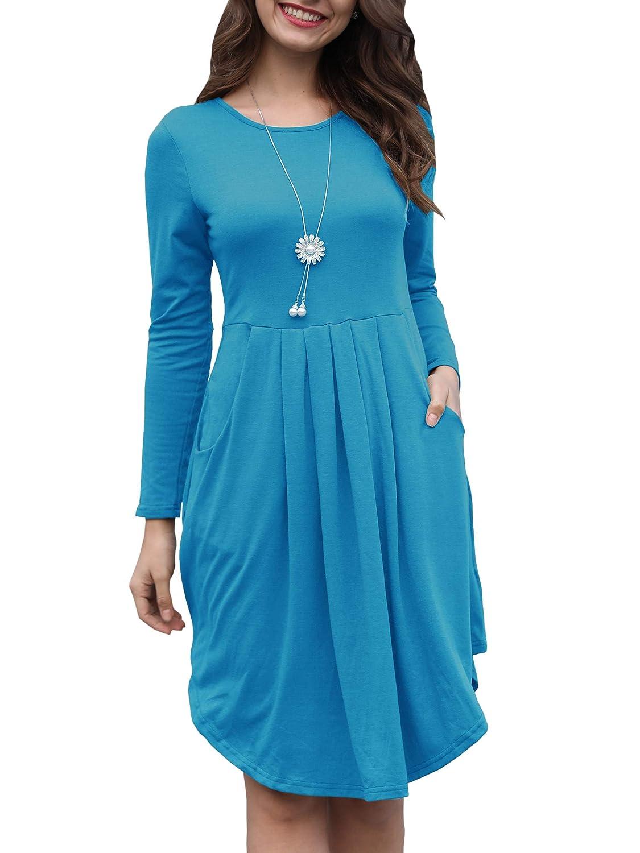 bluee Kathemoi Womens Long Sleeve Tunic Dress Pleated Swing Casual Midi Dresses Pockets