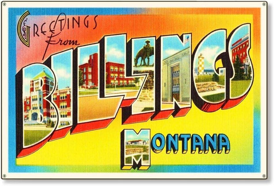 Billings Montana mt Travel Postcard Metal Sign Wall Decor Retro Wall Home Bar Pub Vintage Cafe Decor, 8x12 Inch