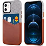 Fooyin Handmade Leather Card Case for iPhone 12 Mini, Fabric iPhone 12 Mini Case with Card Holder (Holds 1-2 Cards, Slim and