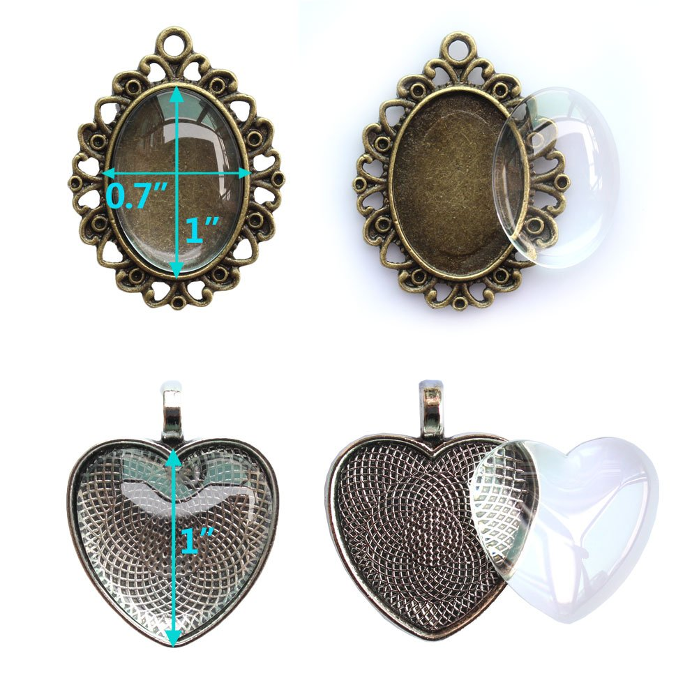12 Styles Bundle 24 Pcs Pendant Trays Oval 48 Pcs Heart Flower Circle in Silver Round Square Antiqued Silver /& Bronze with 24 Pcs Glass Cabochon Dome Tiles for Crafting DIY Jewelry Making