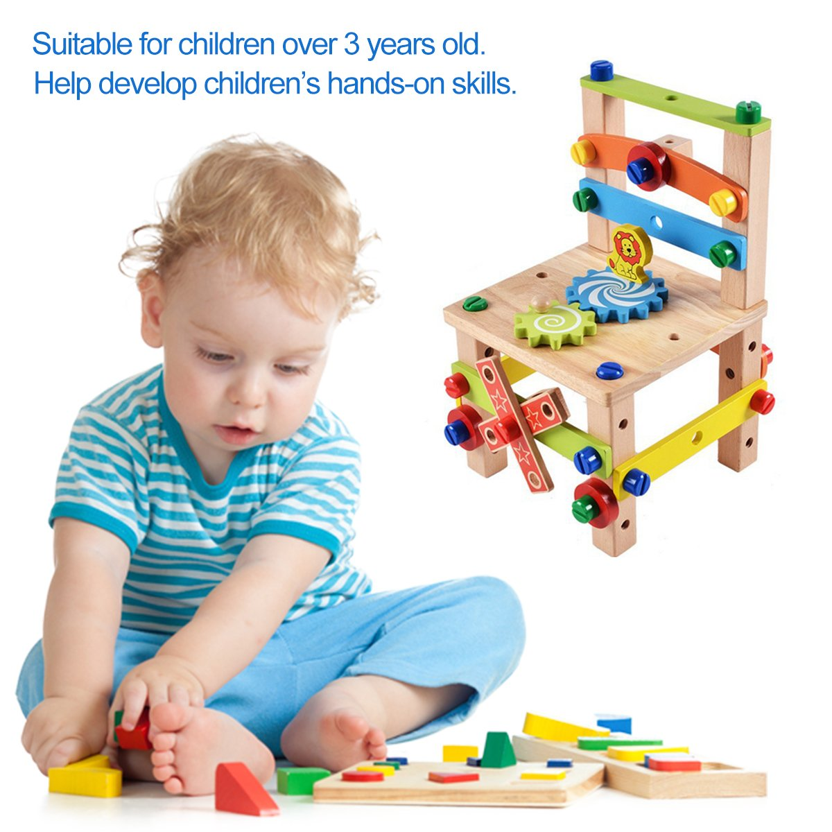 Mochiglory Wooden Bench Chair Construction Blocks Set Nuts and Bolts Educational Toy