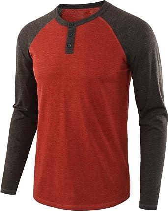 Daxvens Camisa Henley Casual Contraste Color De Cuello Redondo para Hombre: Amazon.es: Ropa y accesorios