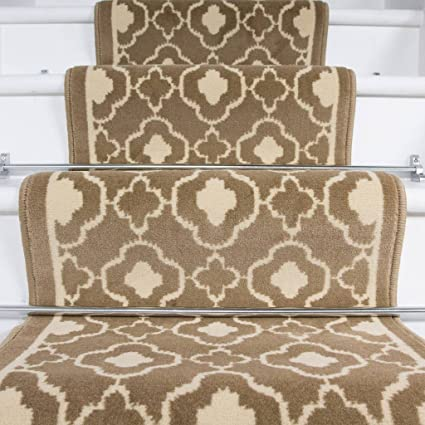 The Rug House Lima Natural Trellis Geometric Design Stair Carpet In 2 - 3 Widths And 1 - 64 Lengths