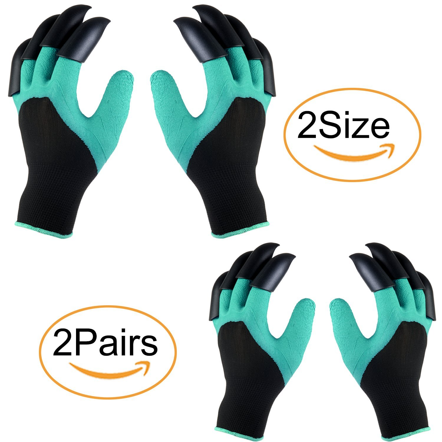 Face Forever Garden Genie Gloves - (2018 2 Pairs 2 Size Soft, Waterproof and Breathable Garden Gloves with Claw For Women&Men Plant, Dig or Fix Including 2 Pairs Gloves with Claws
