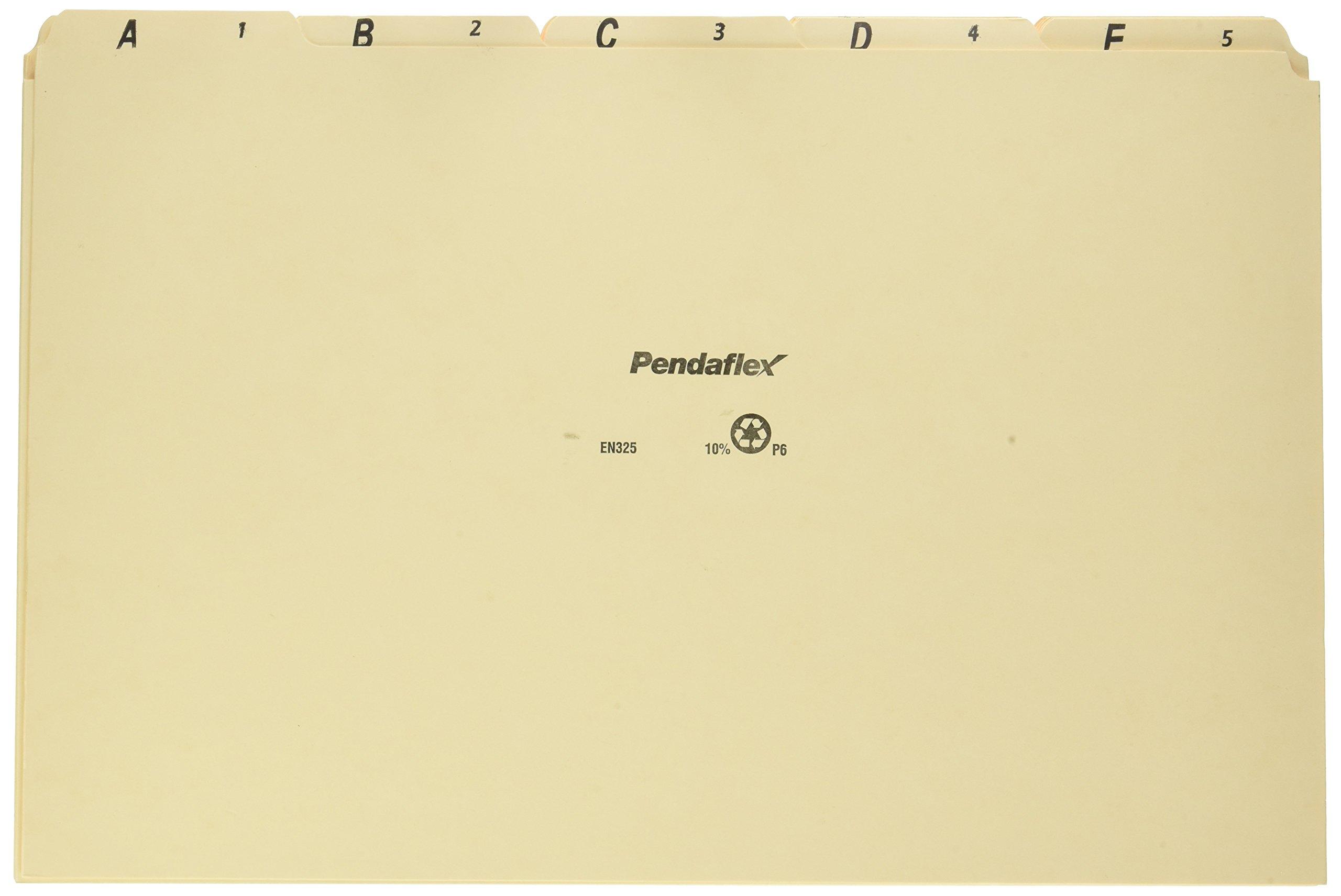 Pendaflex EN325 A-Z Top Tab Recycled File Guides, 18 pt. Manila, 1/5 Tab, Legal Size, 25/set