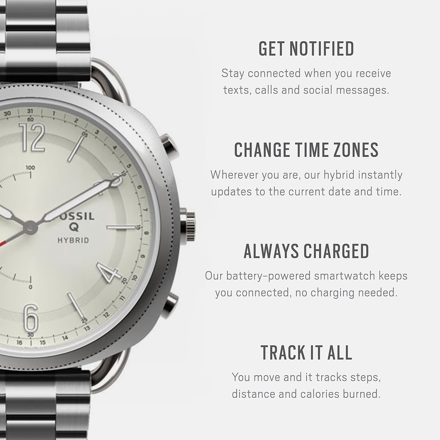 Fossil Hybrid Smartwatch - Q Accomplice Stainless Steel FTW1202 by Fossil (Image #2)