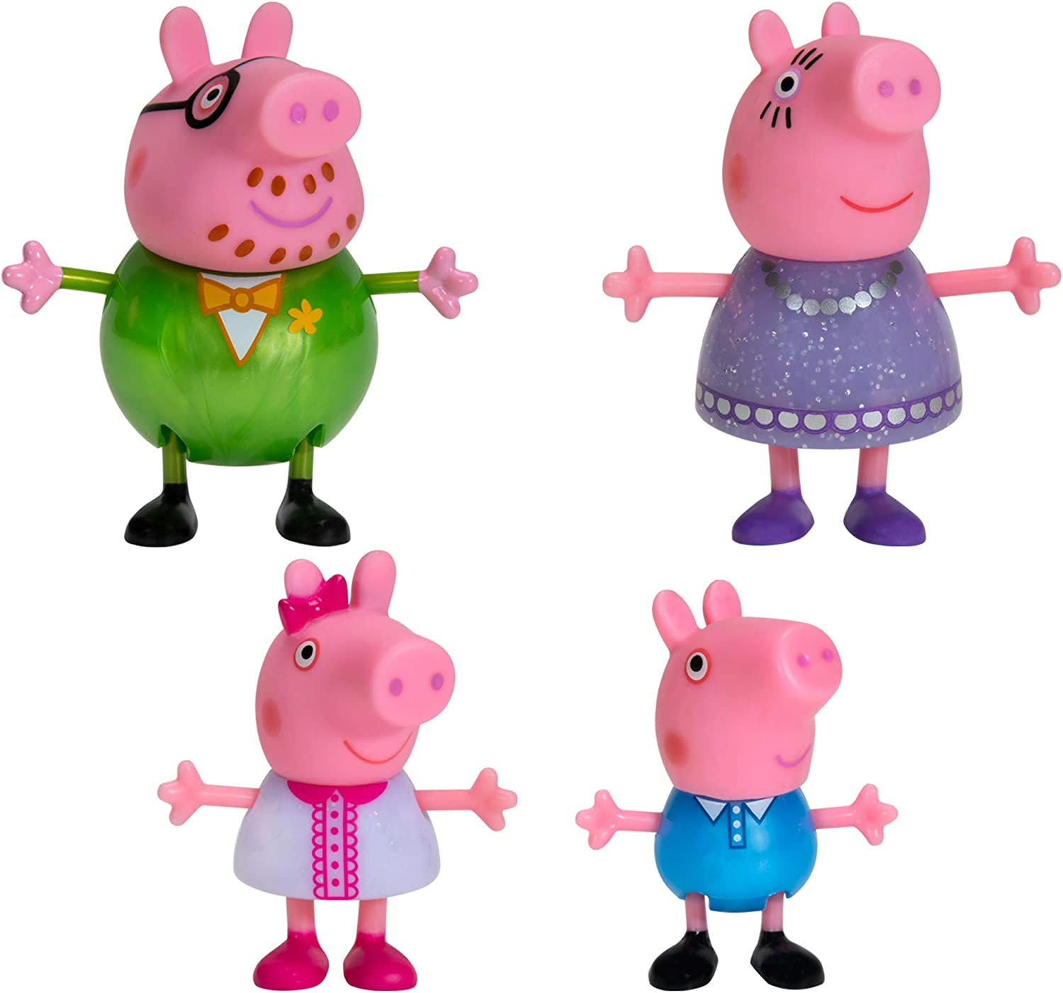 "Peppa Pig Fancy Family – 4 Figure Pack, 3"" Tall – Including Peppa Pig Characters Daddy Pig, Mummy Pig, Peppa Pig, and George – Toys for Toddlers, Kindergarteners, Kids"