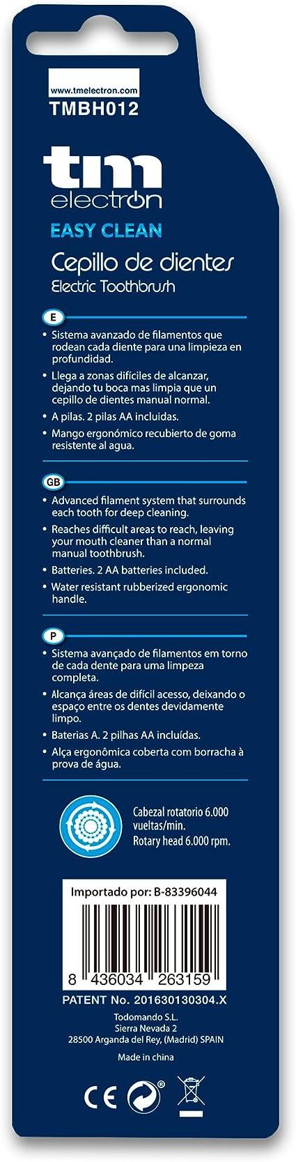 TM Electron Cepillo de Dientes Eléctrico a Pilas Easy Clean, Azul - 1 Unidad: Amazon.es: Salud y cuidado personal