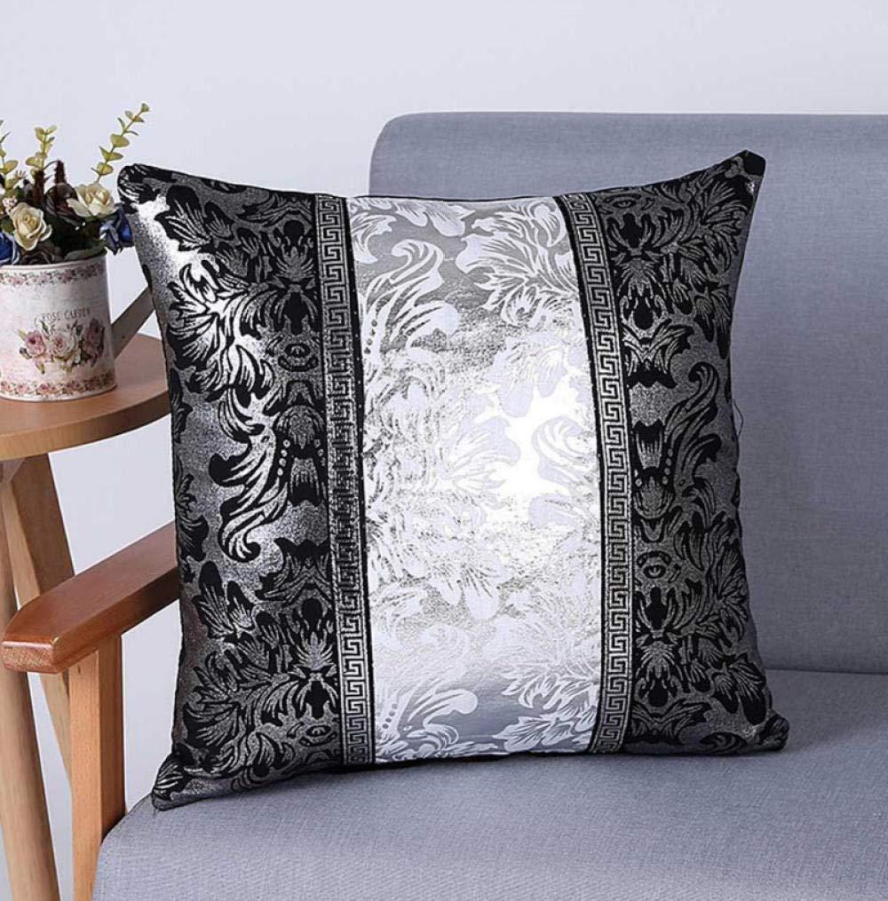 Almohada de sofa 沙发 抱枕 Vintage Negro Plata Floral Funda ...