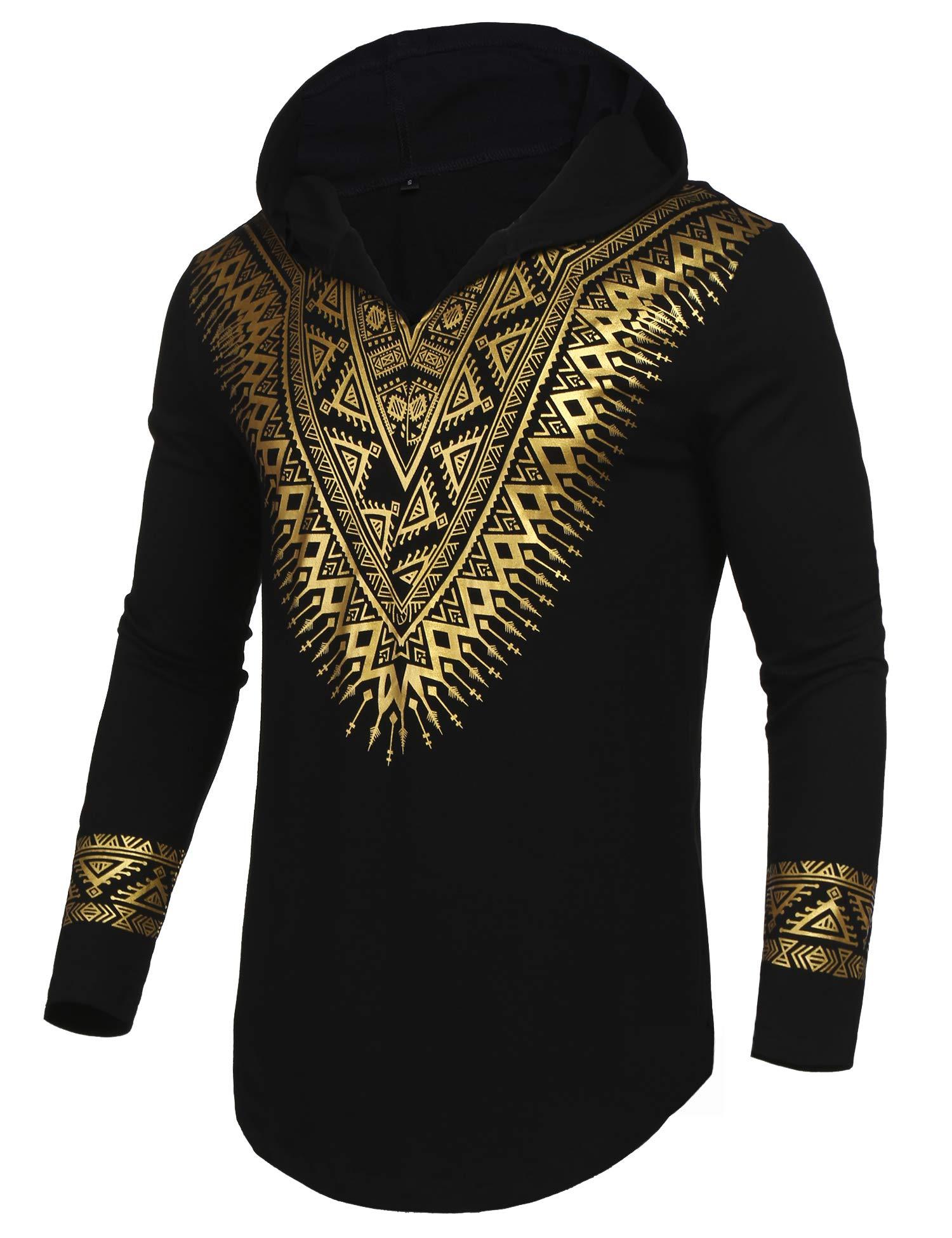 Pacinoble Mens African Dashiki Shirt Luxury Metallic Floral Printed Long Sleeve Shirts Blouse