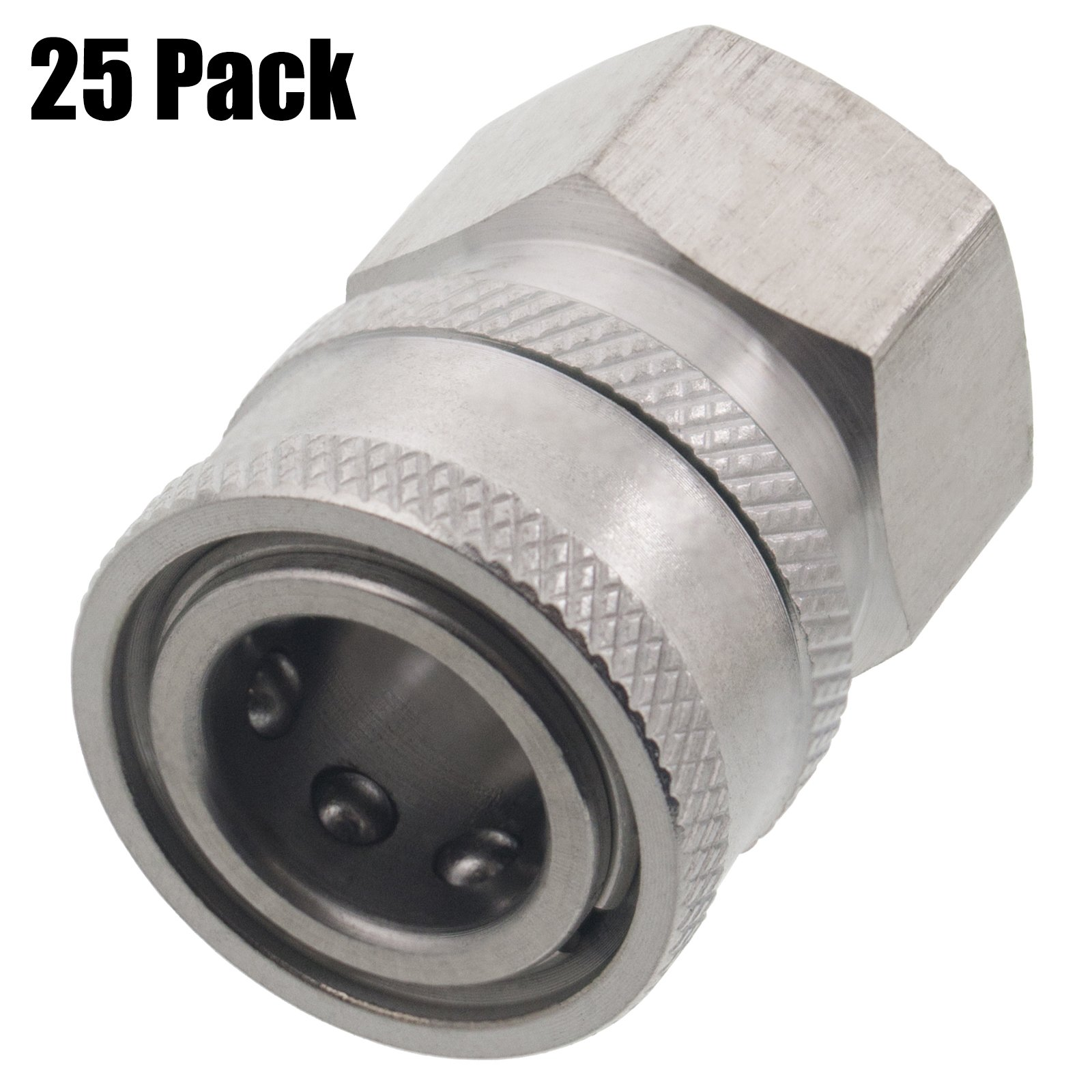 Erie Tools 25 3/8'' FPT Female Stainless Steel Socket Quick Connect Coupler 5000 PSI 10 GPM for Pressure Washer Nozzle Gun Hose Wand