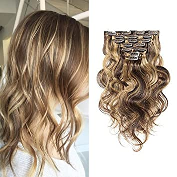 Ugeat 18inch 7Pcs 120 Gram Full Head Clip In Hair Extensions Body Wave Piano Color Remy