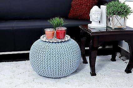 Tanishkam Home Decor Pouf For Living Room Sky Blue Color Amazon